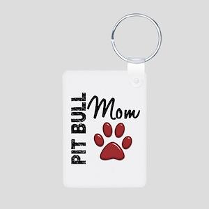 Pit Bull Mom 2 Aluminum Photo Keychain