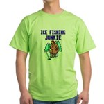 Ice Fishing Junkie Green T-Shirt