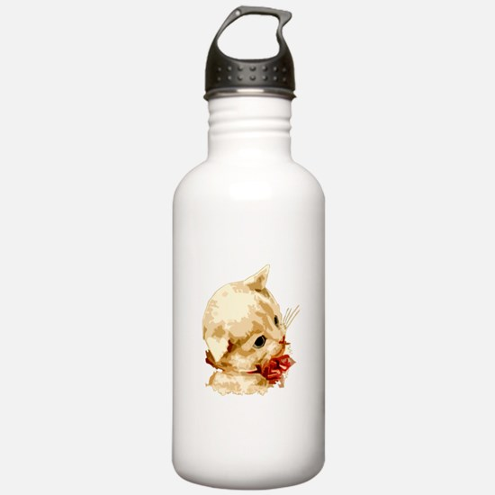 White kitty cat kitten with r Water Bottle