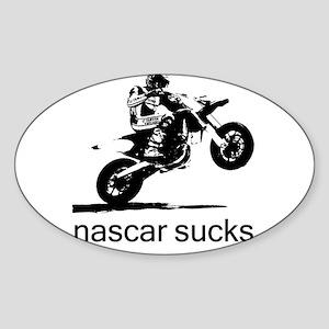 wheelie white nascar sucks Sticker (Oval)