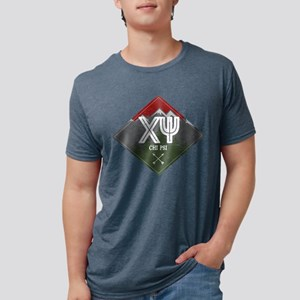 Chi Psi Mountains Diamond Mens Tri-blend T-Shirts