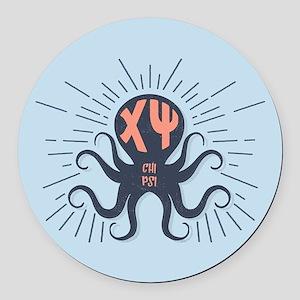 Chi Psi Octopus Round Car Magnet