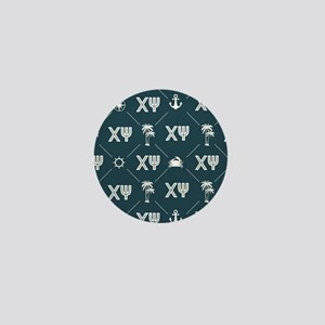 Chi Psi Blue Pattern Mini Button