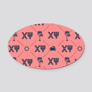 Chi Psi Coral Pattern Oval Car Magnet