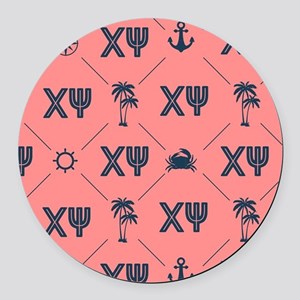 Chi Psi Coral Pattern Round Car Magnet