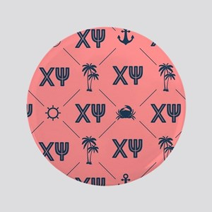 Chi Psi Coral Pattern Button