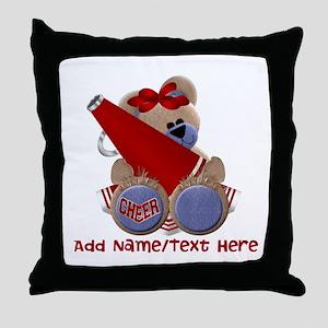 Teddy Cheerleader (red) Throw Pillow