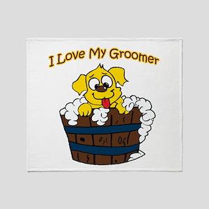 I Love My Groomer Throw Blanket
