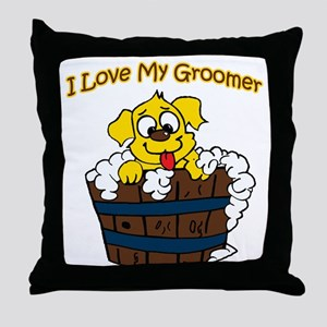 I Love My Groomer Throw Pillow