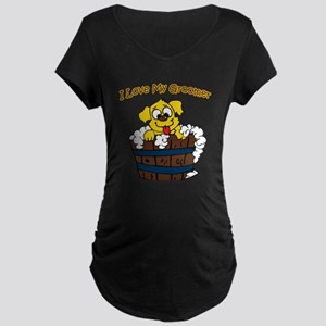 I Love My Groomer Maternity Dark T-Shirt