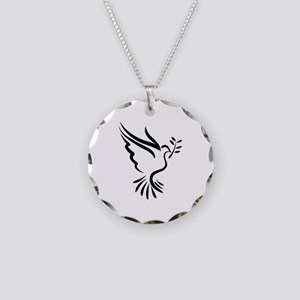 Dove Necklace Circle Charm