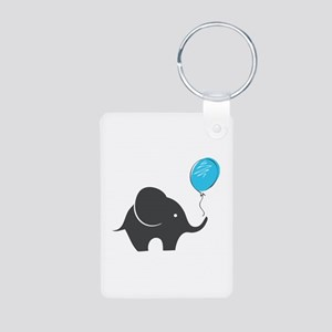 Elephant with balloon Aluminum Photo Keychain