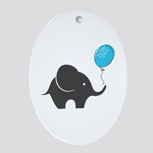 Elephant with balloon Ornament (Oval)
