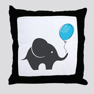Elephant with balloon Throw Pillow