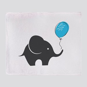 Elephant with balloon Throw Blanket
