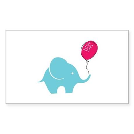 Elephant with balloon Sticker (Rectangle)