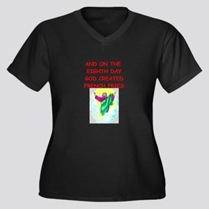 french fries Women's Plus Size V-Neck Dark T-Shirt