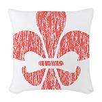 FleurDeLisRed Woven Throw Pillow