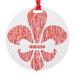 FleurDeLisRed Round Ornament