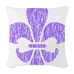 FleurDeLisPurple Woven Throw Pillow