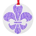 FleurDeLisPurple Round Ornament