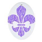 FleurDeLisPurple Oval Ornament