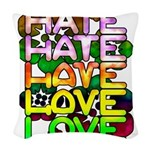 hate2love color Woven Throw Pillow