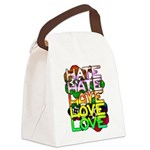 hate2love color Canvas Lunch Bag