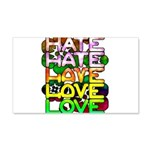 hate2love color 20x12 Wall Decal