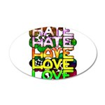 hate2love color 35x21 Oval Wall Decal