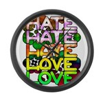 hate2love color Large Wall Clock