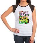 hate2love color Junior's Cap Sleeve T-Shirt
