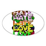 hate2love color Sticker (Oval)