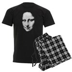 Mona Lisa Halftone Face White Men's Dark Pajam