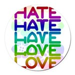 hate2love color2 Round Car Magnet