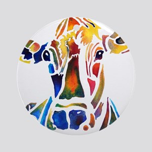 Whimzical Original Cow Art Ornament (Round)