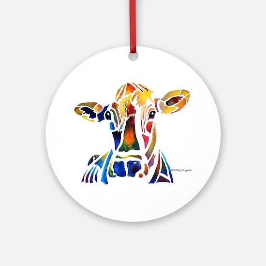 Whimzical Original Cow Art Ornament (Round)