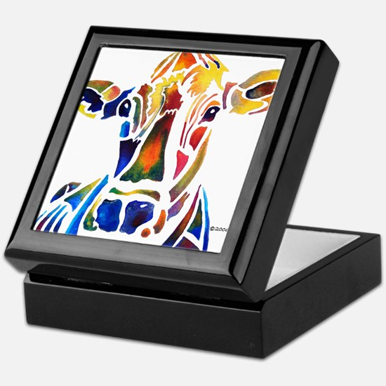 Whimzical Original Cow Art Keepsake Box