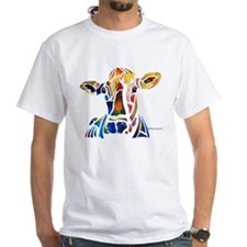 Whimzical Original Cow Art White T-Shirt