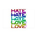 hate2love color2 35x21 Wall Decal
