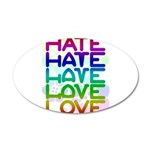 hate2love color2 20x12 Oval Wall Decal