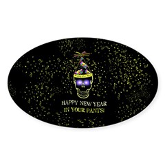 Happy New Year Pants Sticker (Oval)