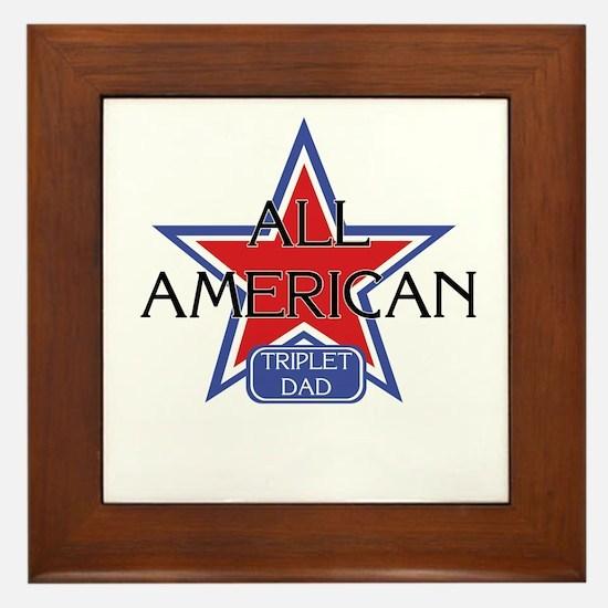 All American Triplet Dad Framed Tile