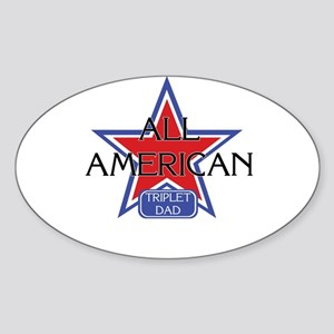 All American Triplet Dad Oval Sticker