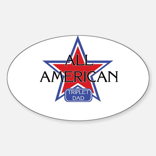 All American Triplet Dad Oval Decal
