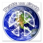 "Peace on Earth II Square Car Magnet 3"" x 3"""