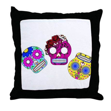 Roly Polly Skulls Throw Pillow