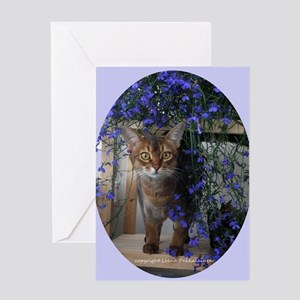 Flower Cat Oval Greeting Card