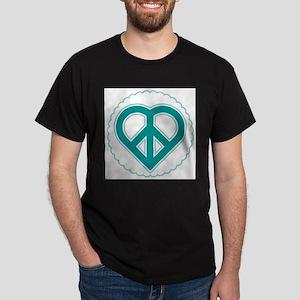 Teal Peace Heart Dark T-Shirt