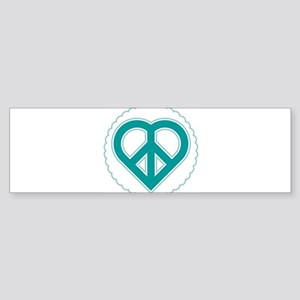 Teal Peace Heart Sticker (Bumper)